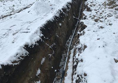 Wykop pod siec wodno-kanalizacyjną